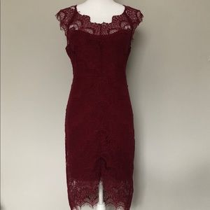 Intimately Free People Dress Lace Lined Cranberry